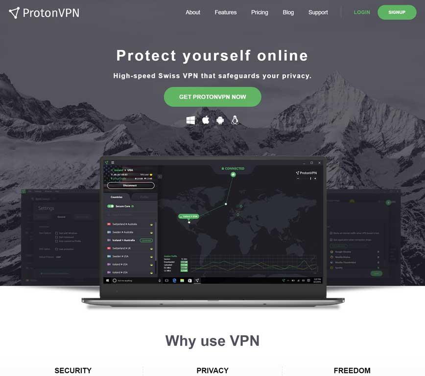 ProtonVPN Landing Page